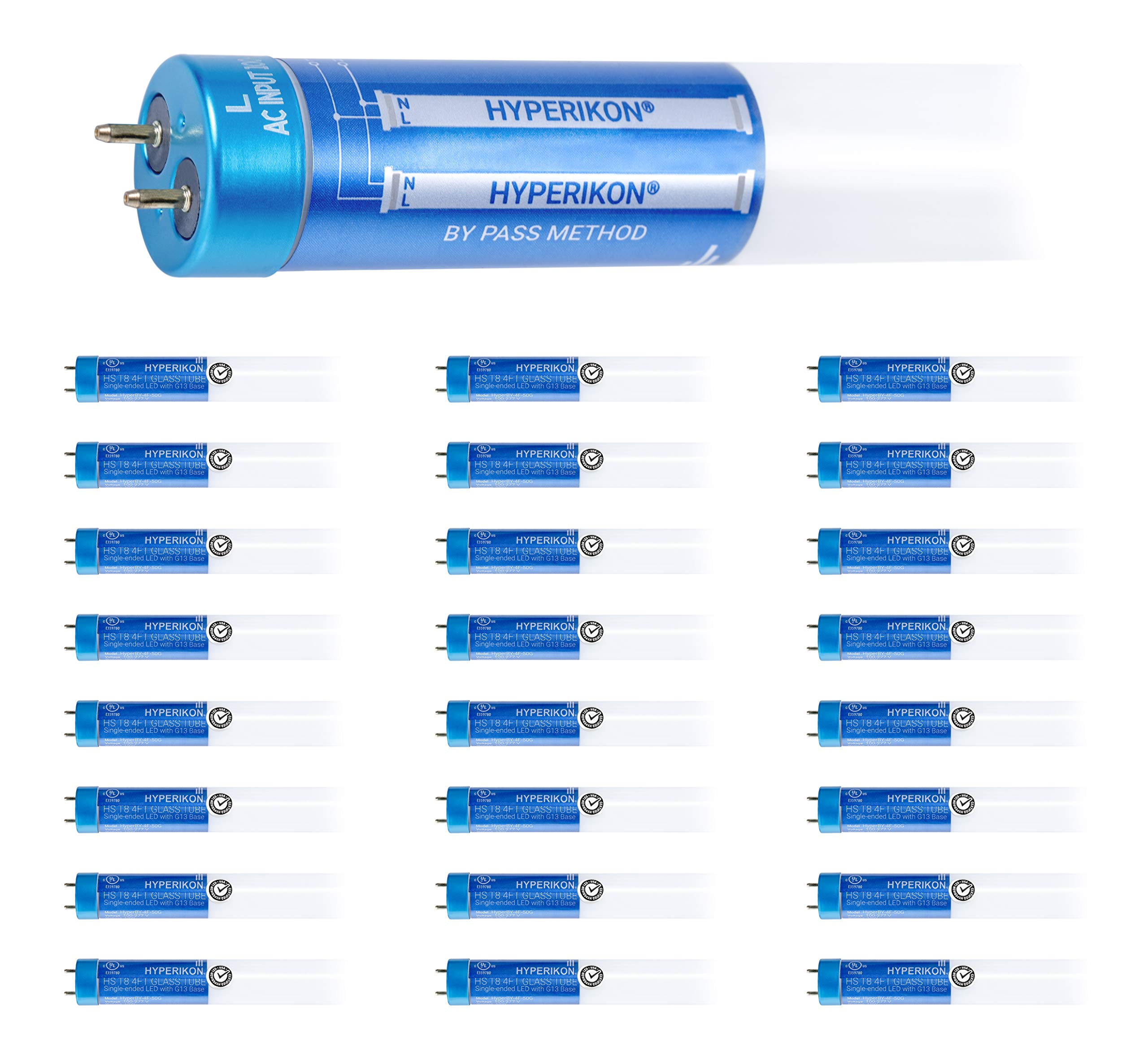 Hyperikon T8 4 Foot LED Bulb, 40 Watt (18W) Glass, T10 T12 Light Tube, 4000K Daylight, Dual End Ballast Bypass, Frosted, 24 Pack
