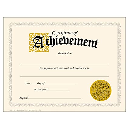 trend enterprises inc certificate of achievement classic certificates 30 ct