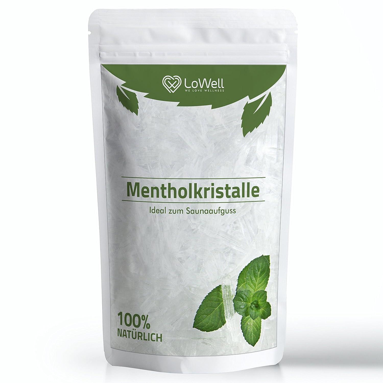 LoWell ❤ Cristalli di mentolo, cristalli di ghiaccio grandi, mentolo, menta 100% - qualità farmaceutica per infusi di sauna - contenuto 100g