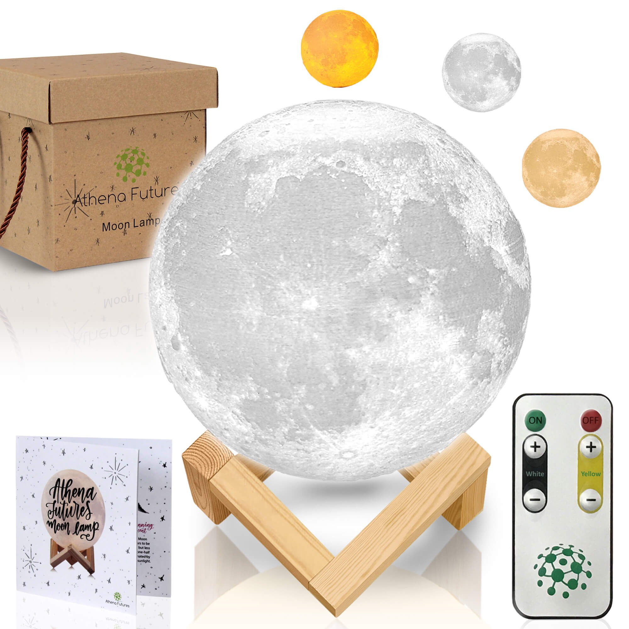 Moon Lamp Moon Light 3D Moon Lamp - [USA Seller] [Upgrade] 3 Color Moon Night Light with Stand - Mood Lamp Book, Globe, Cool Lamp, 5.9 in, USB Charging, with Wooden Stand, Box, Kids, Moonlight LED by Athena Futures
