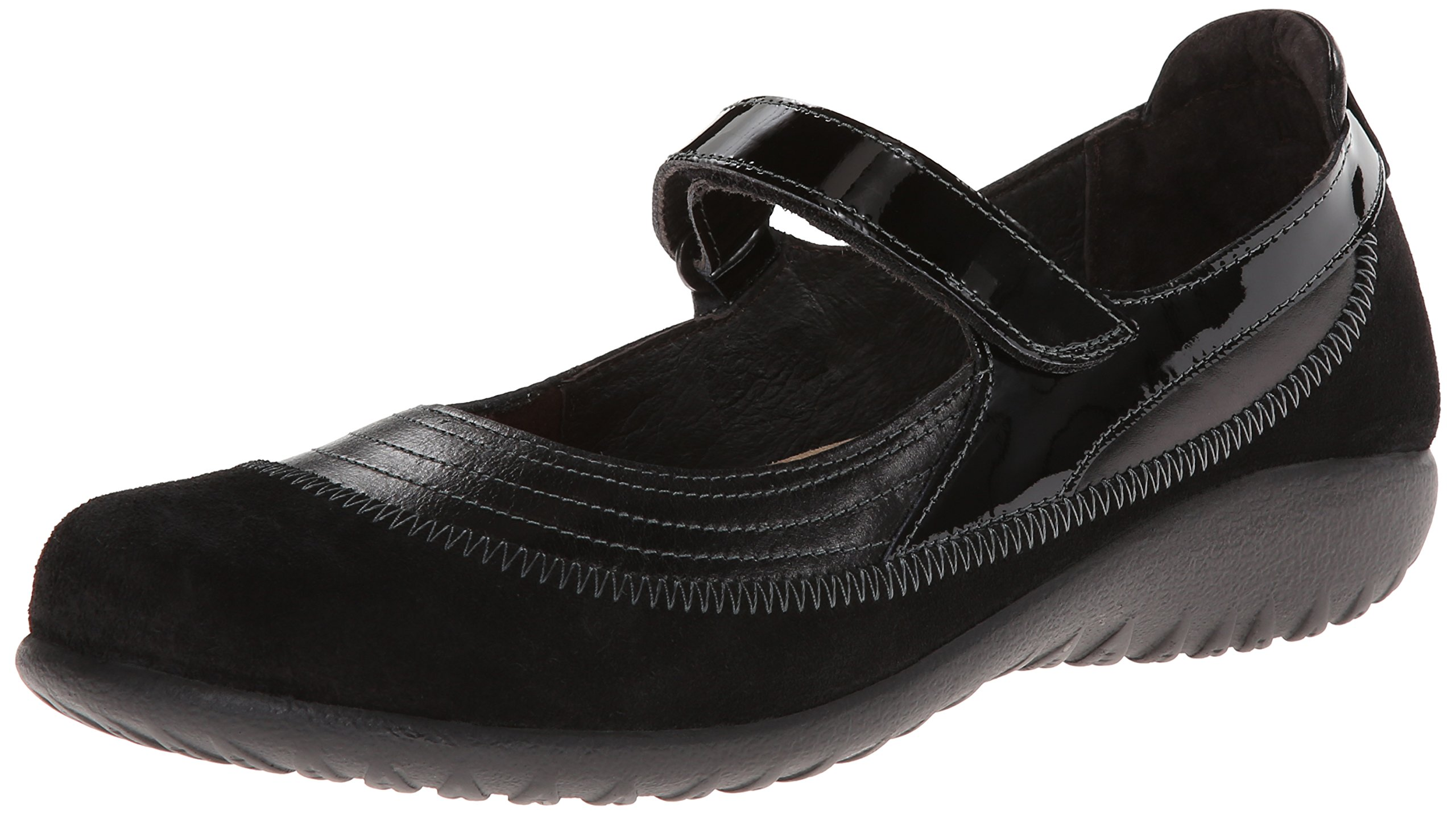 Naot Women's Kirei Wide Flat, Black, 35 EU/4 M US by NAOT