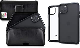 product image for Turtleback Tough Defense Case/Holster Combo Designed for New iPhone 11 Pro Max (2019) 6.5 Inch Military Grade Drop Tested Ultra Clear Back Fitted in Leather Pouch Executive Belt Clip-Horizonal/Black