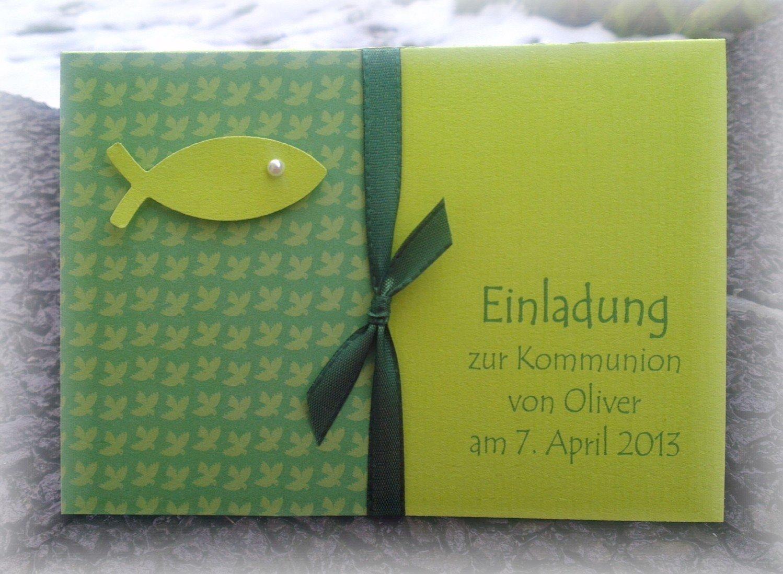 Einladung Einladungskarte Kommunion Konfirmation Taufe Fisch apfelgrün grün