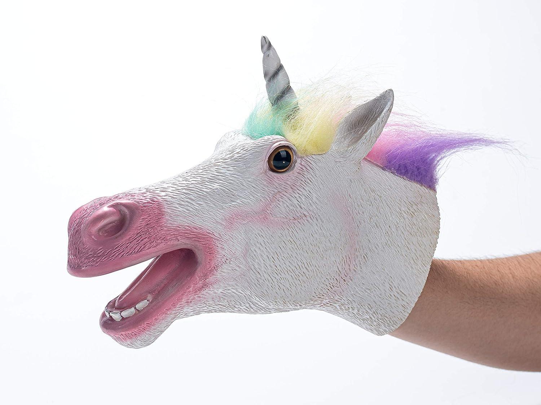 Hanzwa Animal Juguete Marioneta de Mano,Goma Blanda Cabeza de Unicornio Realista