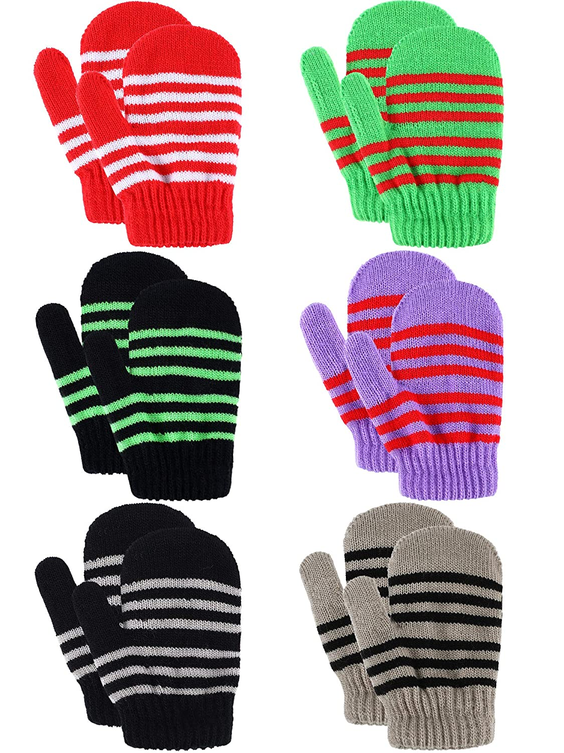 6 Pairs Kids Knit Mittens Toddler Stretch Gloves Winter Knitted Warm Mitten for Boys Girls Color Set 1