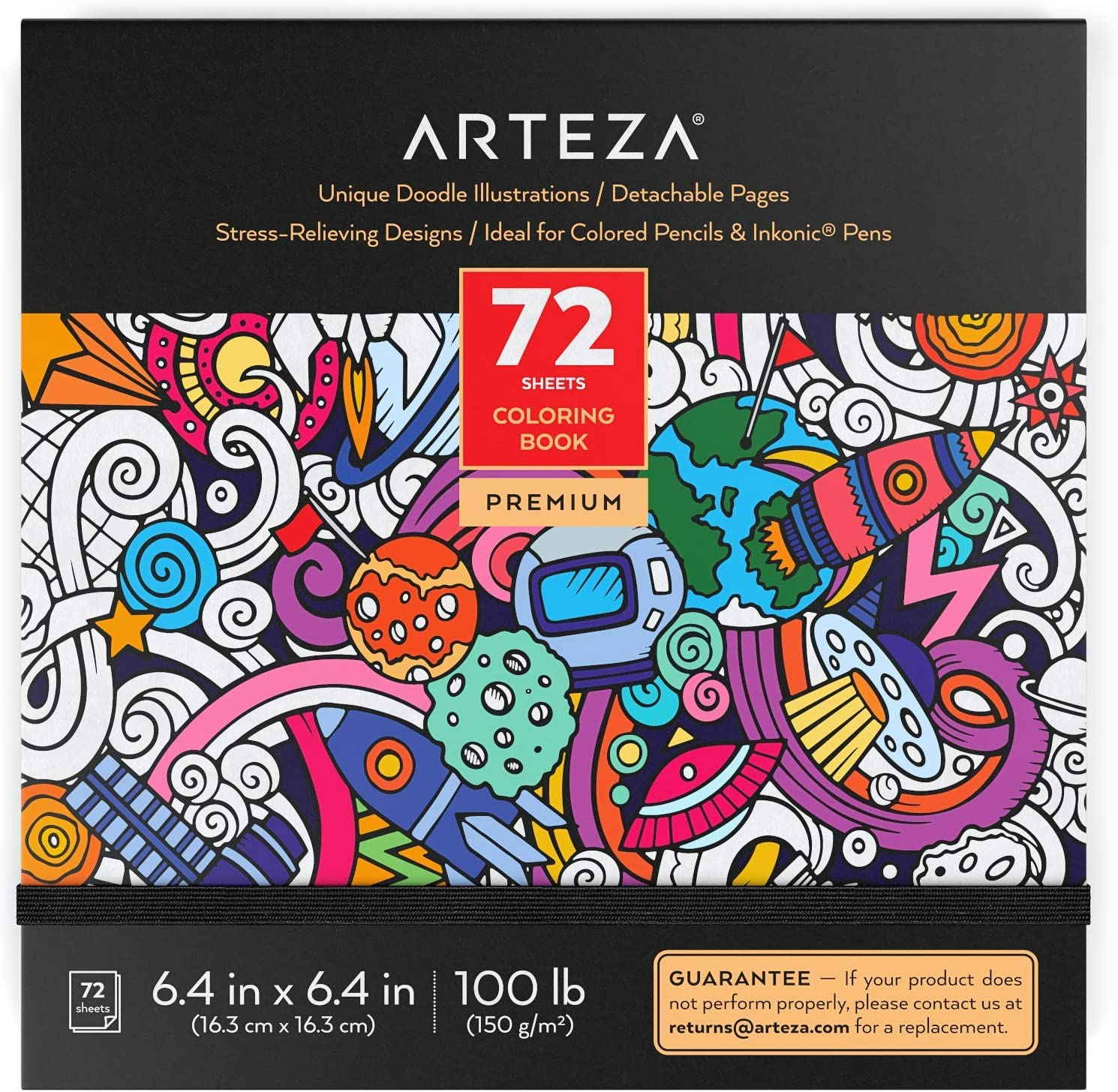 Arteza Doodle Coloring Book for Adults, Black Outlines, 72 Relaxing Coloring Pages for Relieving Stress and Anxiety for Adults and Teens, Encourages Meditation, Promotes Mindfulness
