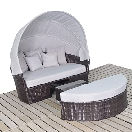 Amazon.com : Harmony Life Wicker Daybed with Retractable Canopy ...