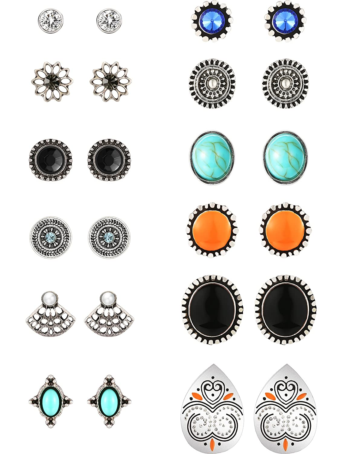 12 Pairs Bohemian Retro Vintage Style Earring Sets, Assorted Multiple Studs Earring Set for Women and Girl Gejoy Gejoy-Vintage Earring-01