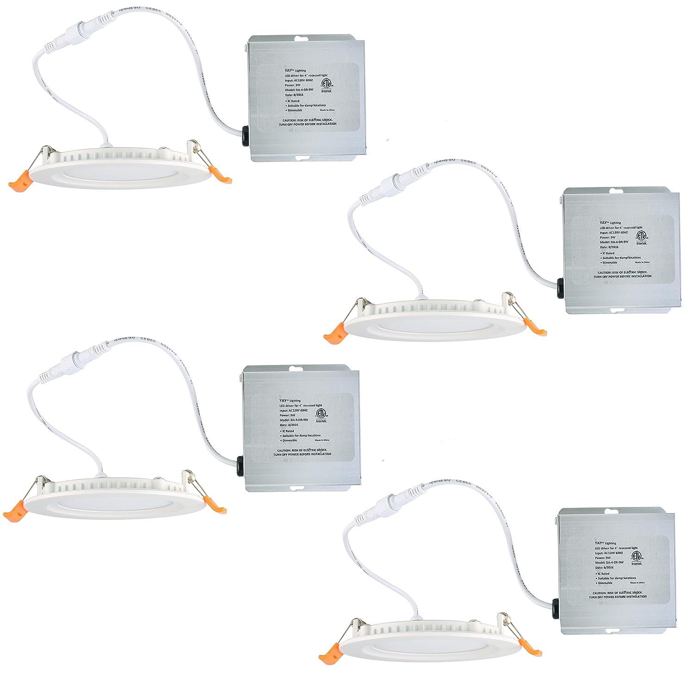 Yay照明LED Recessed天井ライト – ウルトラシンラウンドスポットライト – 調光機能付き – ETLリスト – ic-rated – withリモートドライバボックス 4 inch (4 pack) 30w B076QDV4C7 4 inch (4 pack) ウォームホワイト 3000K ウォームホワイト 3000K 4 inch (4 pack)