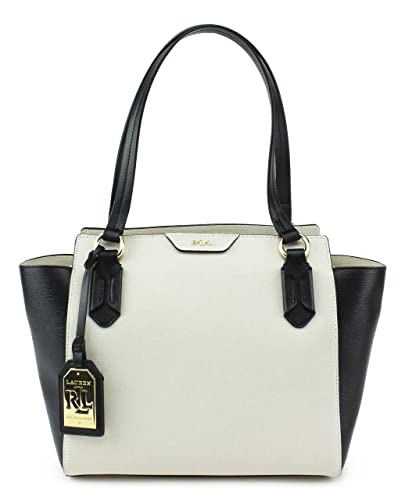 e948fd0d0d Amazon.com  Lauren Ralph Lauren Tate Modern Shopper Satchel  Ivory Black Black  Shoes