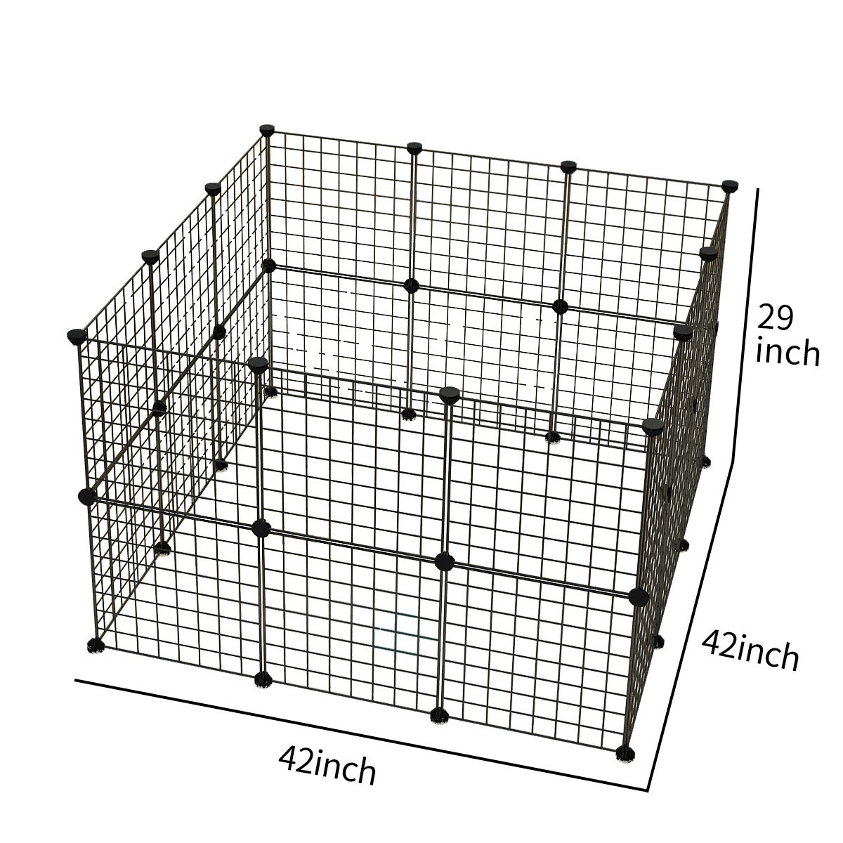 JYYG Pet Playpen, Small Animal Cage Indoor Portable Metal Wire Yard Fence for Small Animals, Guinea Pigs, Rabbits Kennel Crate Fence Tent, Black,24 Panels by JYYG (Image #2)