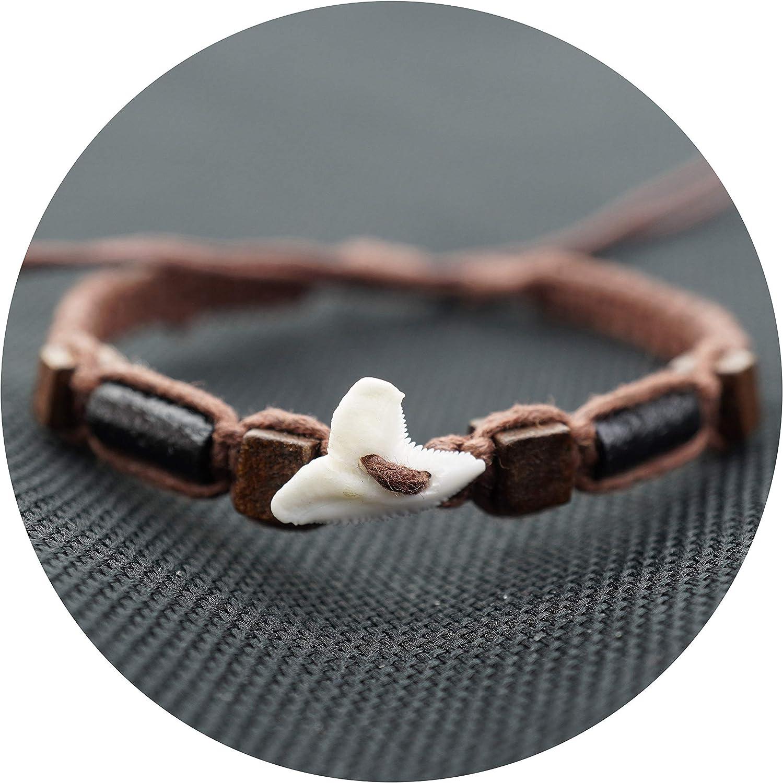 KIRIDA Boho Friendship Bracelets for Women Mens Boys Girls Bangle Cotton Braided Rope Handmade Adjustable Gifts for Best Friend Real Shark Tooth Vintage Style