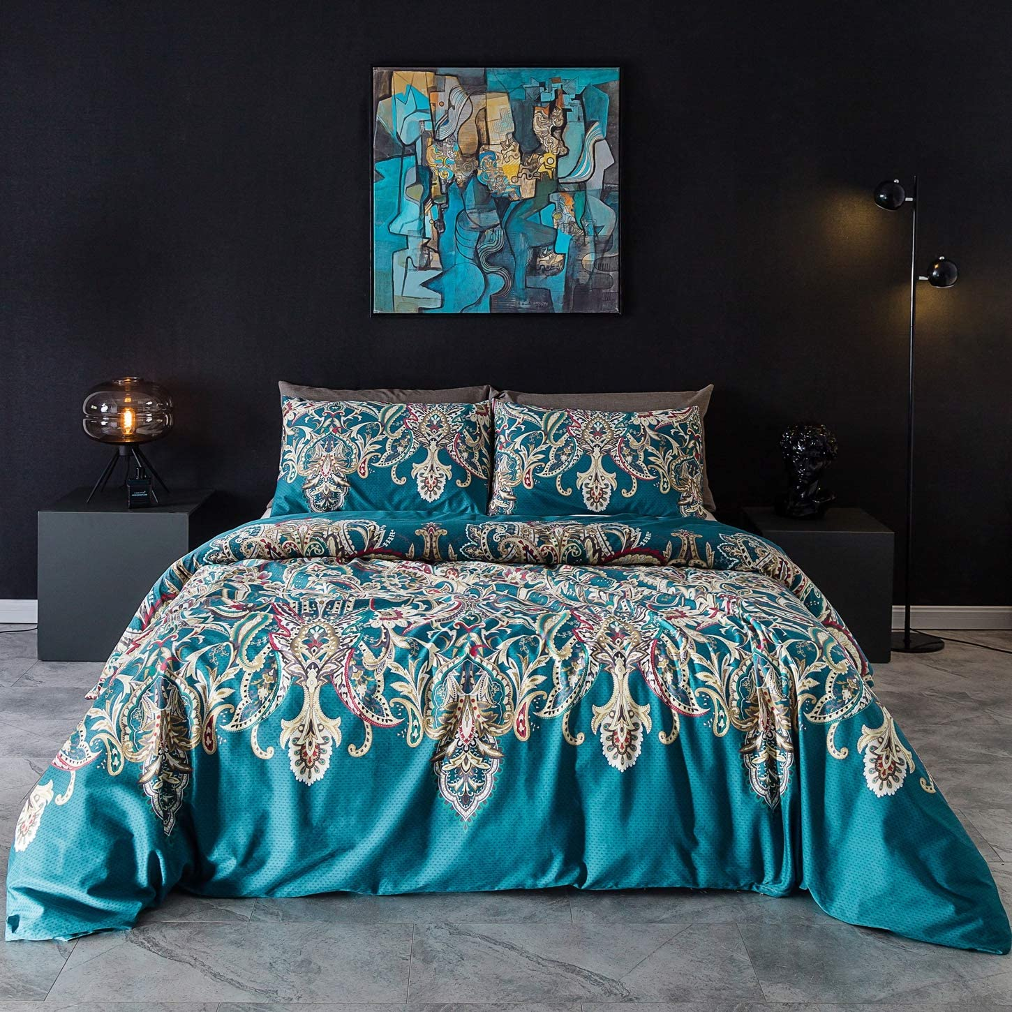 SUSYBAO 3 Piece Duvet Cover Set Queen Size 100% Egyptian Cotton Sateen Turquoise Bohemian Bedding Set 1 Paisley Duvet Cover with Zipper Ties 2 Pillowcases Hotel Quality Silky Soft Fade Resistant