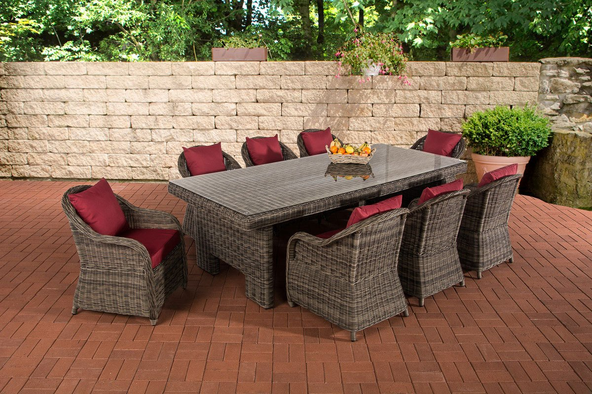 CLP Poly-Rattan Garten Sitzgruppe CANDELA XL grau-meliert, Farbwahl BEZÜGE, 8 Stühle + Esstisch ca. 250 x 110 cm, 5 mm Rund-Rattan grau-meliert, Bezugfarbe rubinrot