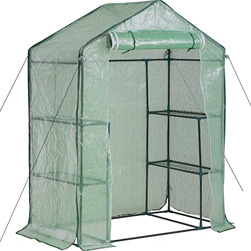 FDW Greenhouse for Outdoors Greenhouse Plastic Mini Greenhouse Kit Indoor Small Portable Greenhouse 4.9 L x 2.4 W x6.4 H Plant Shelves Tomato Herb Canopy Winter Walk-in Green House for Patio