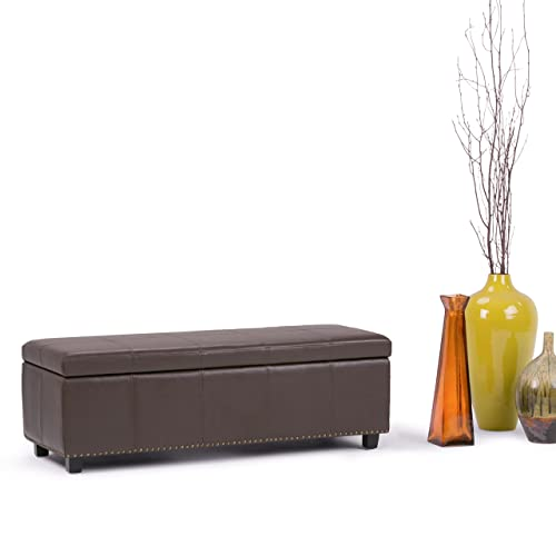 Simpli Home 3AXCOT-240-CBR Kingsley 48 inch Wide Transitional Rectangle Large Storage Ottoman in Chocolate Brown Faux Leather