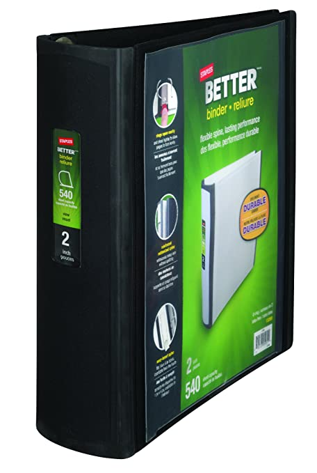 amazon com staples better binder 2 inch black office products