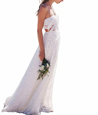 Shan Selected Womens Strapless Two Piece Bohemian Lace White Beach Wedding Dress Simple Boho Long Vintage