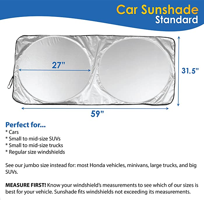"Car Windshield Sunshade (59"" x 31.5"") UV Protector Shields Auto & Keeps Vehicle Cooler - Easy to Use Pop Up Car Sun Shade for Standard/Medium Size Front Windshields - 100%"