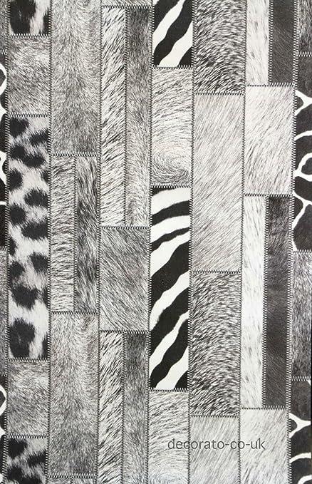 5m Black White Modern Fur Animal Print Feature Wall