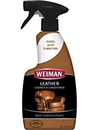 Weiman Leather Cleaner & Conditioner - Gentle Formula Cleans, Conditions and Restores Leather and Vinyl Surfaces – UV...