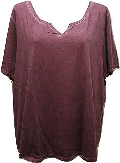 d68fe5feb14f2 Terra   Sky Women s Plus Size Gray Flannel Notch Split Neck Tee - 2X ...