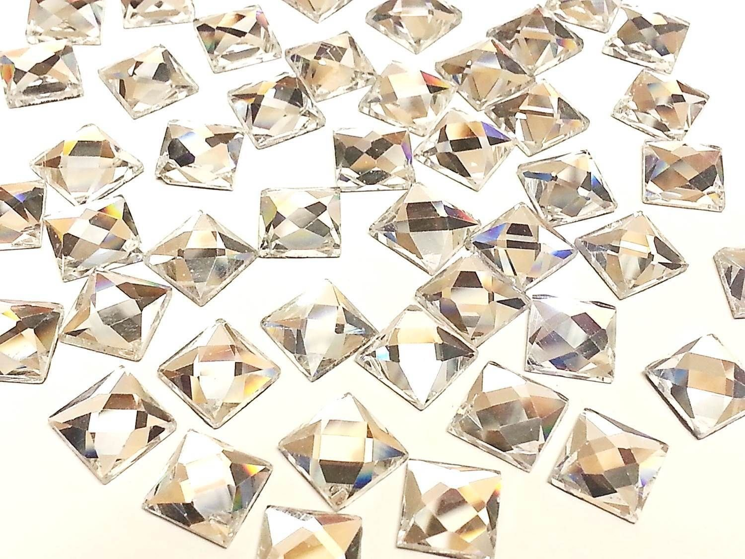 CraftbuddyUS SQ8- 50x 8mm Square Hot Fix Faceted Glass Crystal Rhinestone Diamante Gems Crystal & Gems