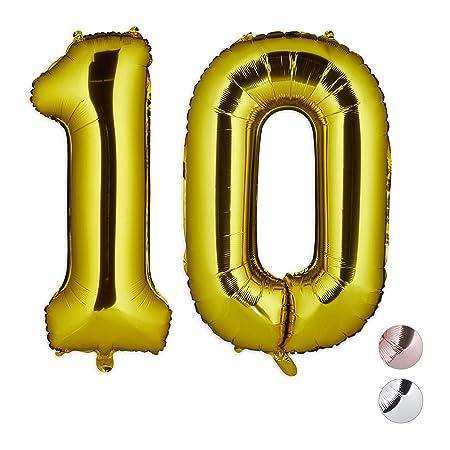 Relaxdays Globos de Cumpleaños Número 10, Aluminio, Dorado ...