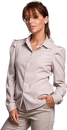 Camisa de manga soplada en color beige : Amazon.es: Ropa