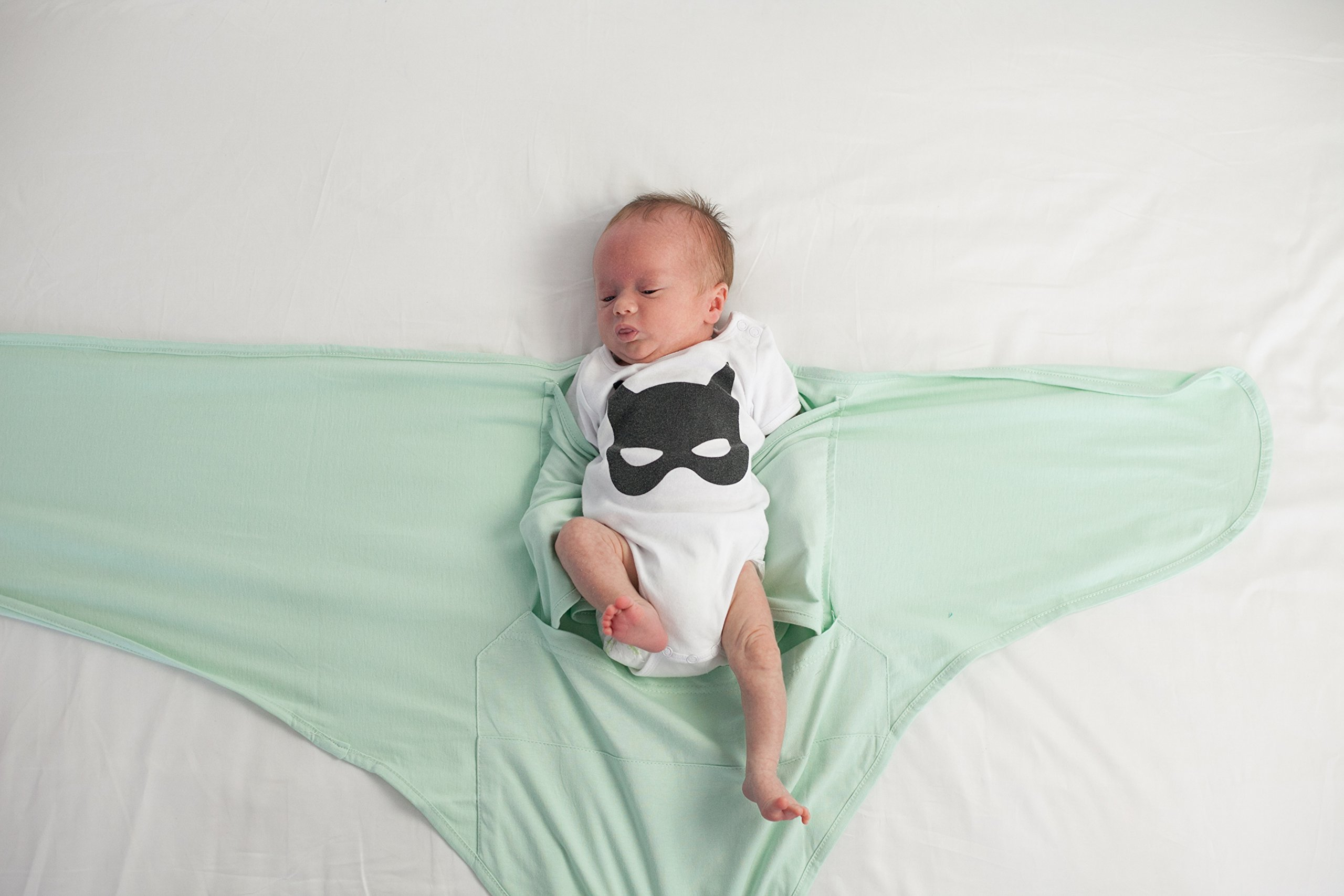 Miracle Blanket Swaddle Unisex Baby, Solid Mint, Newborn to 14 weeks by Miracle Blanket (Image #4)