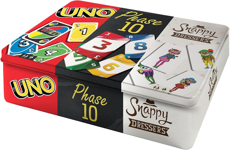 Mattel Games- Cofanetto da Collezionare con 3 Giochi di Carte, Uno, Phase...