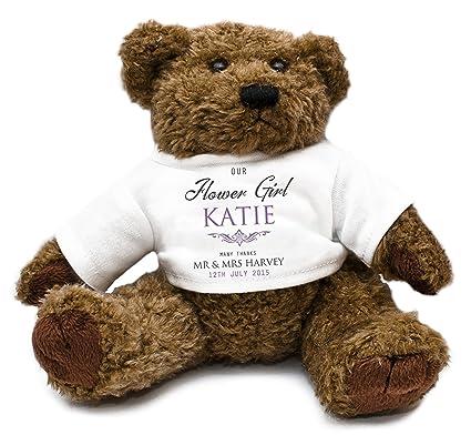 Personalizado para niña oso de peluche para regalos de boda morado