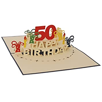 Favour Pop Up Greeting Card For 50th Birthday Round An Original 3D