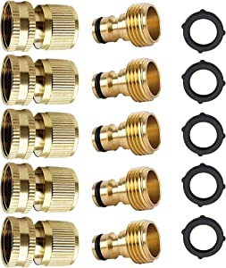 Garden Hose Quick Connector Fittings,3/4 Inch GHT Solid Brass Male and Female Garden Water Hose Quick Connectors ,Hose Internal Thread Heavy Duty Leakproof Connector(5 Sets)