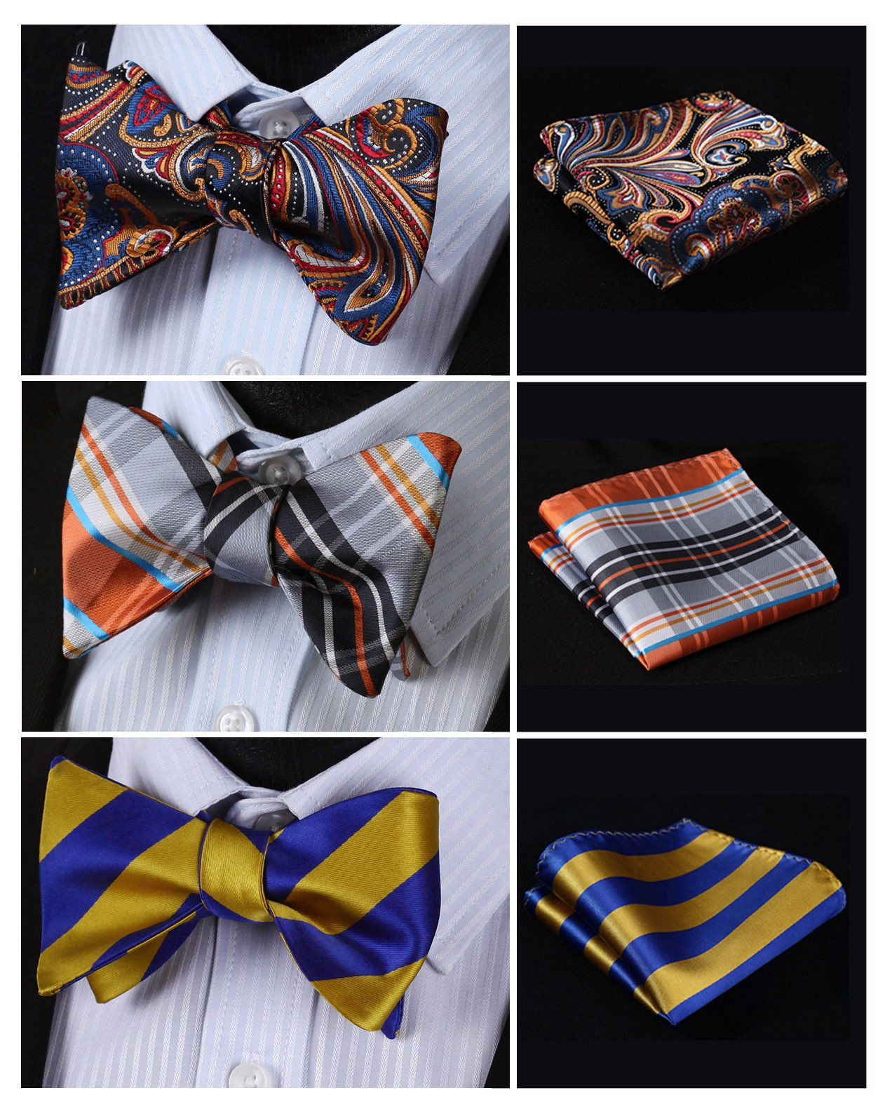 HISDERN 3pcs Mixed Design Classic Men's Self-Tie Bow tie & Pocket Square – Multiple Sets