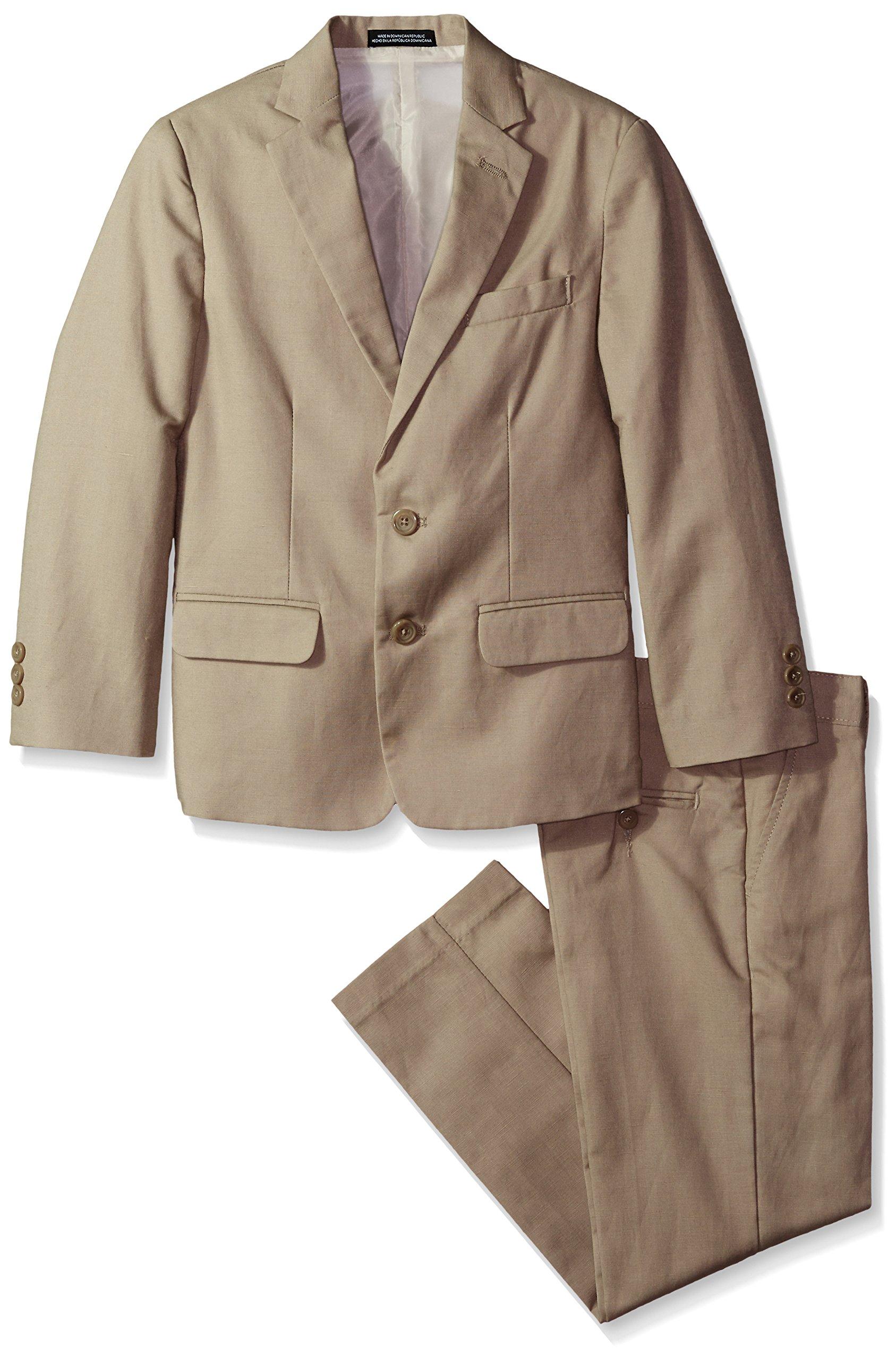 Van Heusen Big Boys' Linen Suit, Khaki, 14