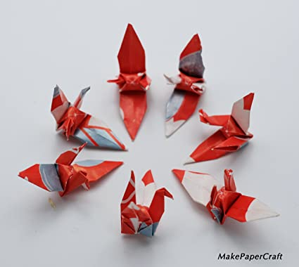 Amazon 100 Origami Paper Cranes Red Tone Mix Pattern Paper