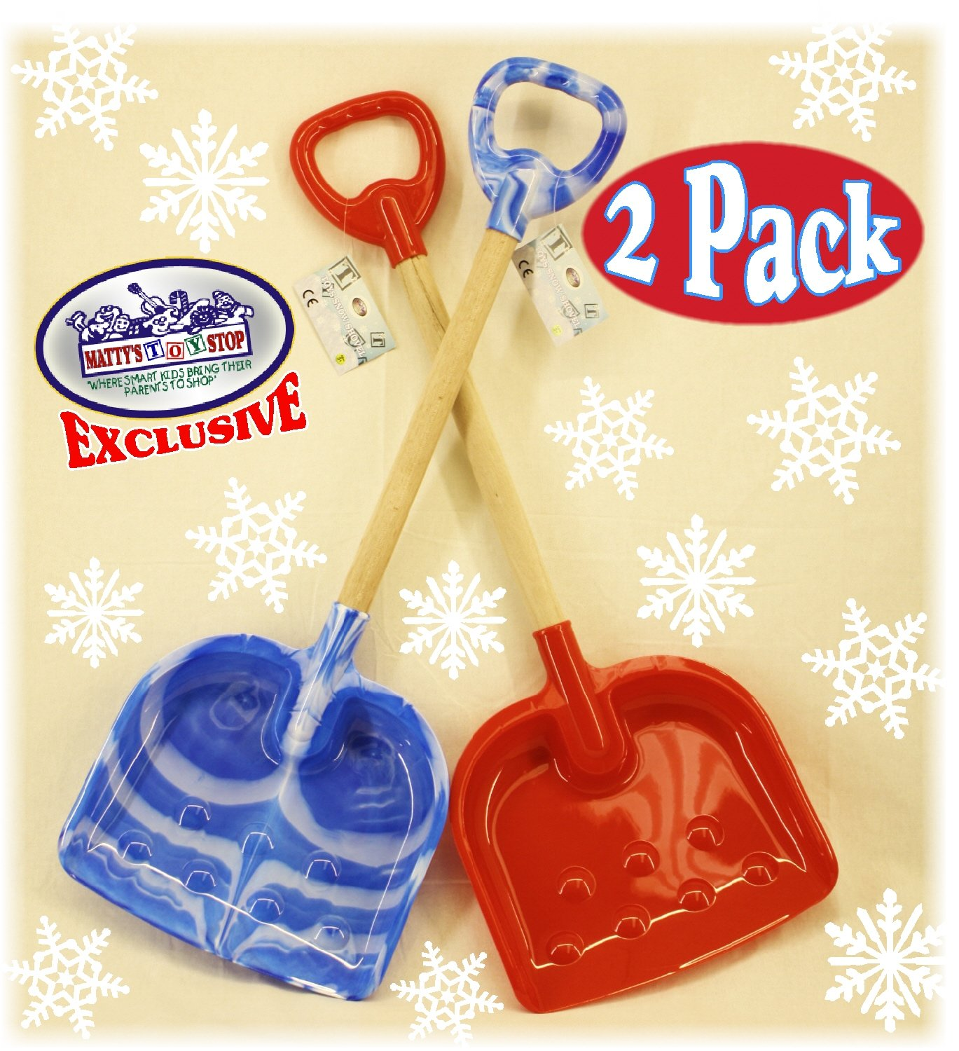 Matty's Toy Stop 28'' Heavy Duty Wooden Snow Shovels with Plastic Scoop & Handle for Kids - 2 Pack (Red & Blue Swirl) by Matty's Toy Stop (Image #1)