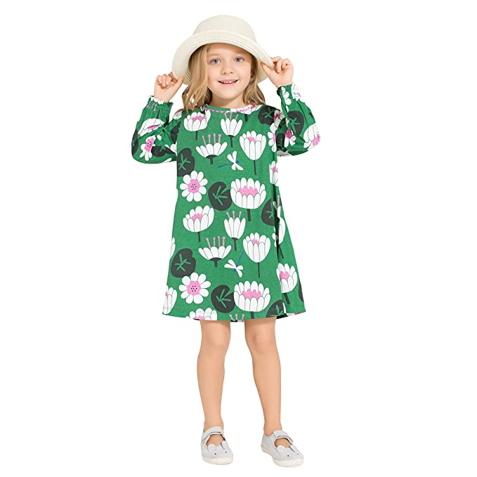 a92f5fe117 Girls dresses Cute Long sleeve Casual Dresses Cartoon print and 100% Cotton  fabric Size 11