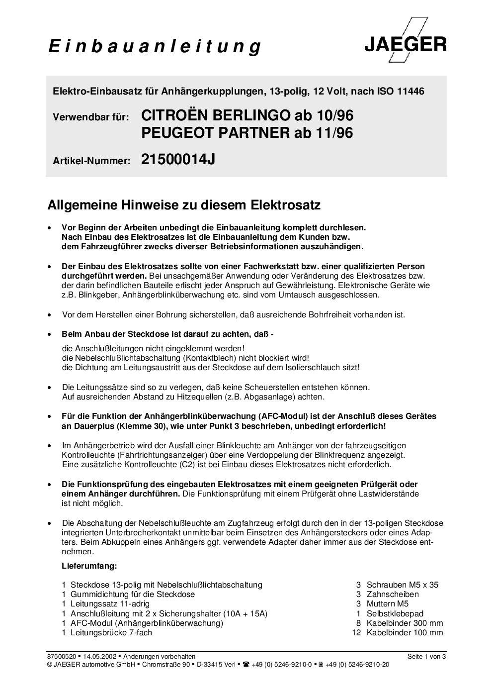 11.2011 ELEKTROSATZ 13-polig SPEZIFISCH Für Citroen Berlingo II ab 06.2008
