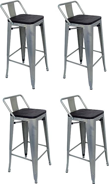 La Silla Española - Pack 4 Taburetes estilo Tolix con respaldo y asiento acabado en madera. Color Gris Industrial. Medidas 95x43x43: Amazon.es: Hogar