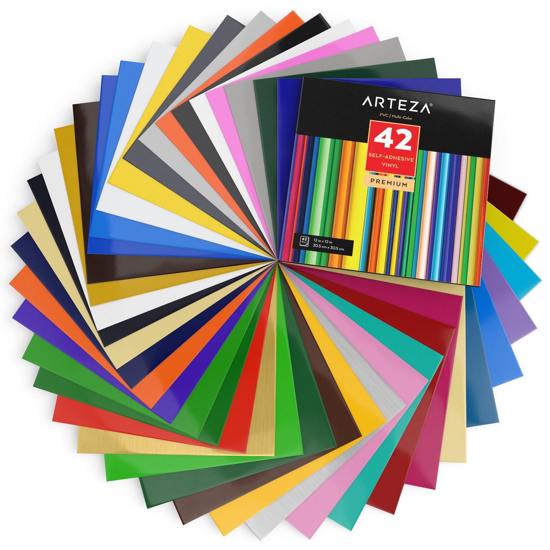"Arteza 12x12"" Glossy Black Self Adhesive Vinyl 50 Sheets Other Art Supplies"