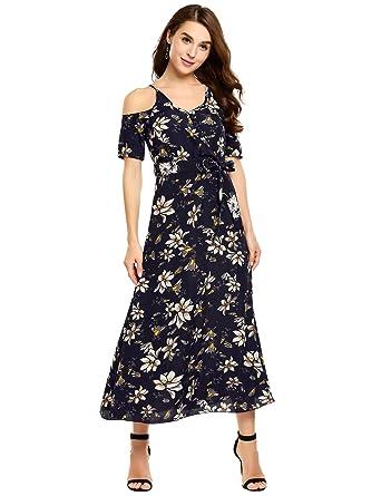 c7a1f6df83 ELESOL Women s Sexy Cold Shoulder V Neck Wrap Boho Maxi Dress with Tie  Waist