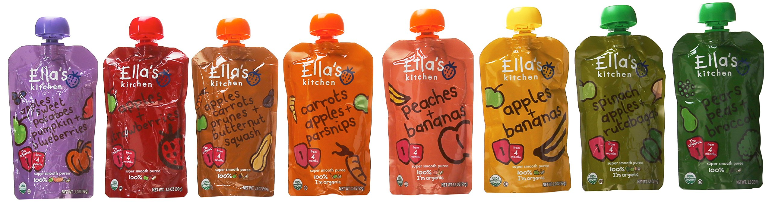 Ella's Kitchen Organic Stage 2 Baby Food 8-flavor Variety Pack (8 Total Pouches)