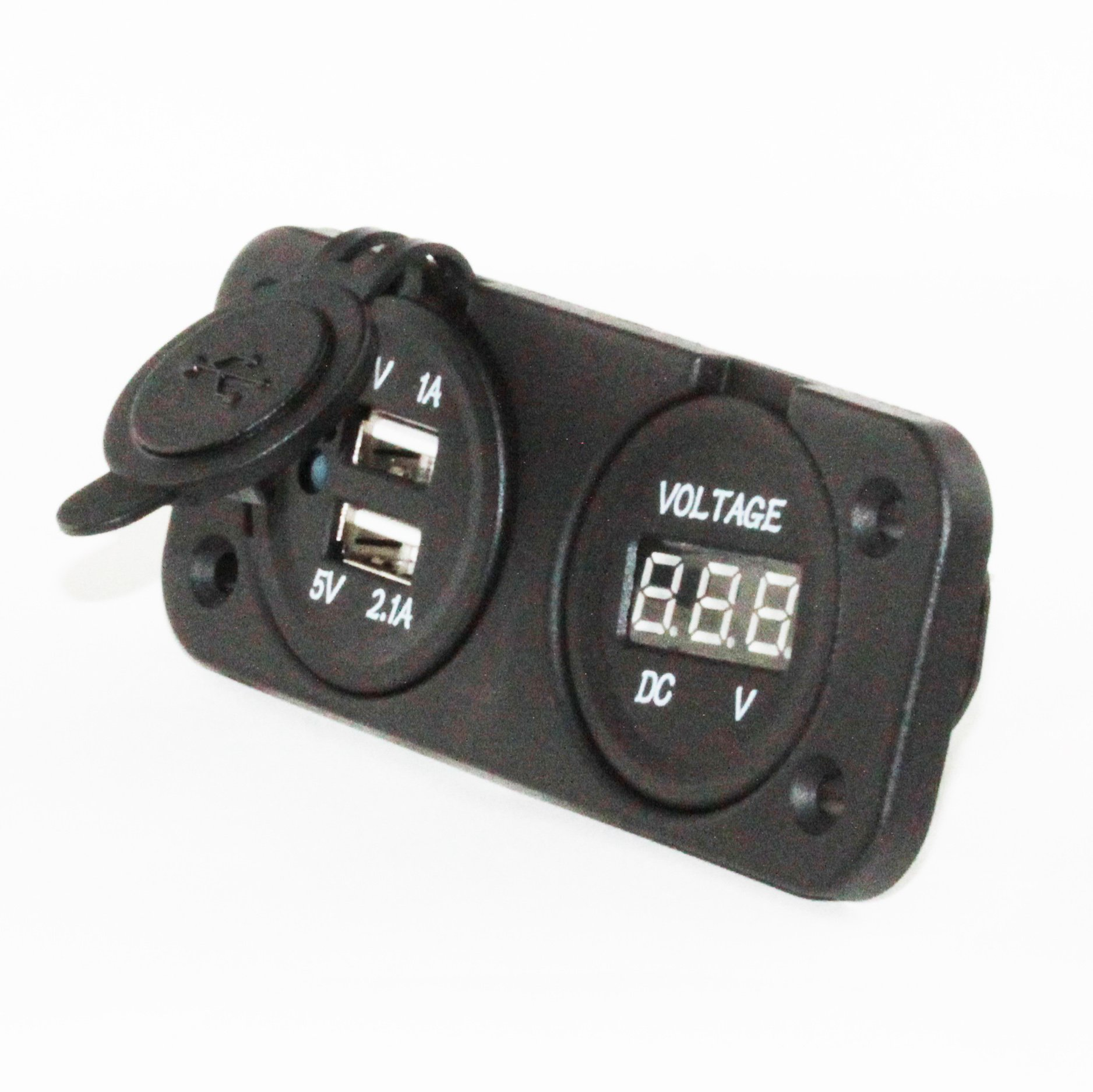 U.S. Solid Marine Grade Dual USB Charger Outlet and Digital Display Voltmeter DC 12V