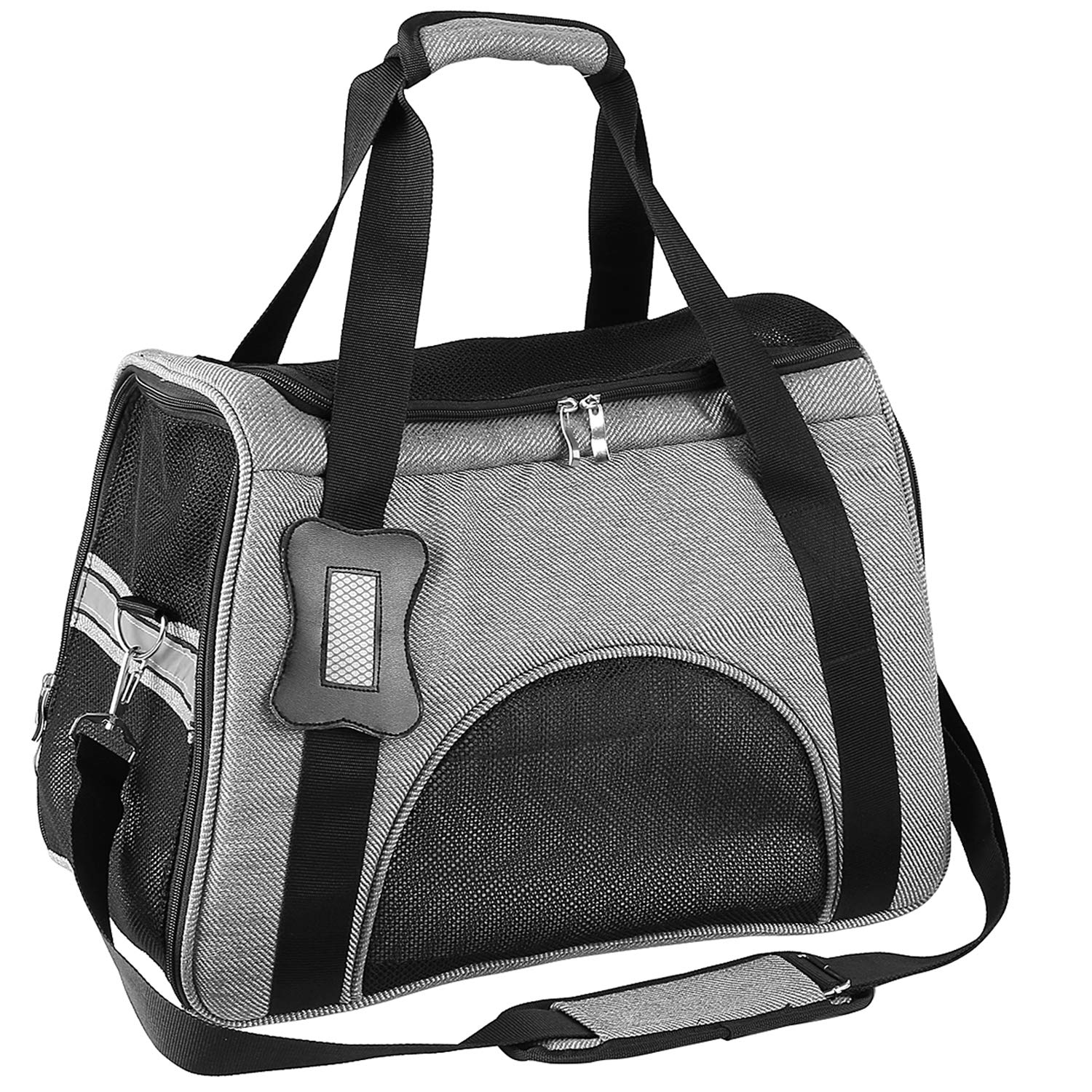 Pedy Pet Carrier, Airline Approved Dog Carrying Bag with Fleece Bedding for Dogs and Cats
