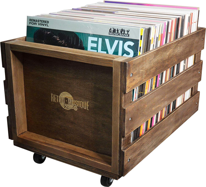 Cajón de Almacenamiento de Registro de LP de madera en Ruedas para hasta 100 álbumes, por Retro Musique