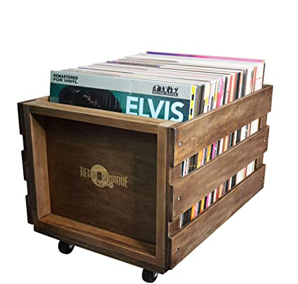 Retro Musique Wooden Vinyl Lp Record Storage Crate On Wheels For Easy Mobility Holds 80 100 Lps