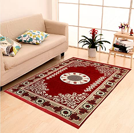 """Buy DAILZ Ethnic Velvet Touch Abstract Chenille Carpet - 55""""x80"""", Maroon Online at Low Prices in India - Amazon.in"""
