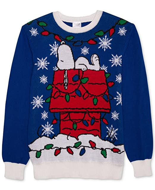 hybrid mens peanuts snoopy on dog house blue christmas sweater